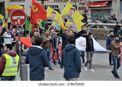 Marseille, France - February 13, 2017 : Kurdish demonstration for the freedom of Abdullah Ocalan and all political prisoners in Turkey