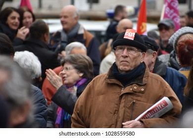 Marseille, France - February 15, 2018 : Retirees take part in a demonstration for better pensions and the protection of their purchasing power