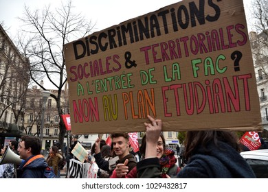 Marseille, France - February 15, 2018 : Protesters during a demonstration against the French government's proposed reform of university applications and a project to reform the French baccalaureate hi