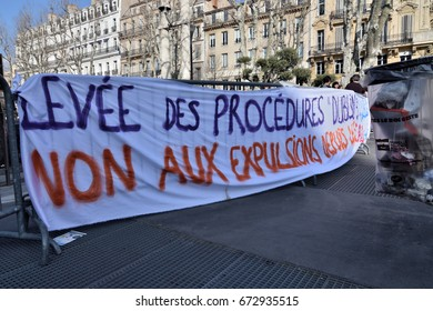 Marseille, France - February 18, 2017 : Demonstration of support for undocumented migrants