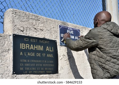 Marseille, France - February 21, 2017:Relatives, friends and ordinary citizens gathered in memory of Ibrahim Ali Abdallah, a young man of Comorian origin killed by a bullet in the back by a billposter