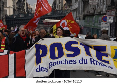 Marseille, France - February 22, 2018 : Hundreds of union workers and allies gather in the streets of Marseille, France at the call of the CGT to demonstrate against the austerity budget and salary an