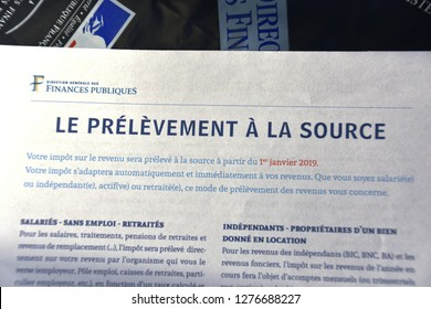 "Marseille, France - January 05, 2019 : The French government puts in place the ""levies at the source"" (""prélèvements à la source"" in french). Taxes are levied directly on wages"