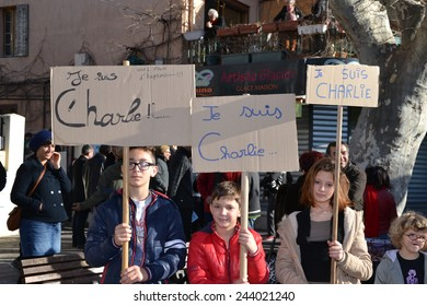 Marseille, France - January 10, 2015: People pay tribute to murdered Charlie Hebdo cartoonists.