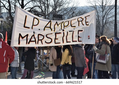 Marseille, France - January 19, 2017 : Pupils and teachers of schools located in a zone of priority education (ZEP) were mobilized again, to demonstrate in the streets of Marseille