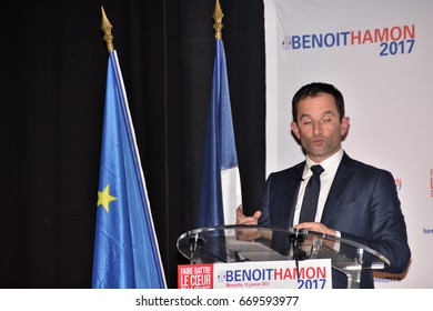 Marseille, France - January 26, 2016 : The Socialist Benoit Hamon, candidate to the left primaries before the presidential elections of 2017, in meeting in Marseille