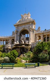 MARSEILLE, FRANCE - JUL 20, 2015: Cascade fountain and sculpture in the central part of the facade of the Palace of Longchamp