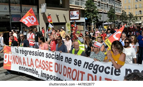 Marseille, France - July 05, 2016 : Thousands of protesters march during a demonstration against the French government and planned labor law reforms