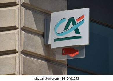 Marseille, France - July 06, 2019 : Credit Agricole (CA) french bank sign
