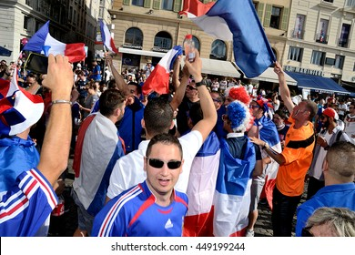 Marseille, France - July 07, 2016 : French supporters pictured in Marseille during the 2016 UEFA European Championship in France
