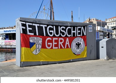 Marseille, France - July 07, 2016 : German banner supporters pictured in Marseille during the 2016 UEFA European Championship in France