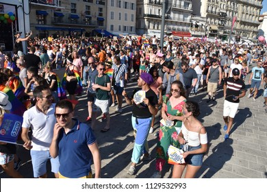 Marseille, France - July 07, 2018 :  Revelers take part in the Pride Parade 2018 in Marseille, southern France