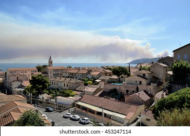 Marseille, France - July 15, 2016 : Smoke from a forest fire