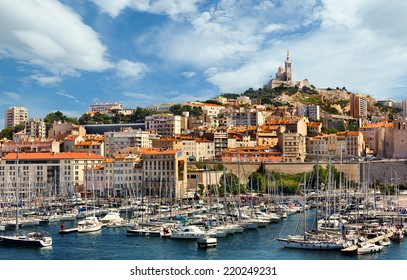 MARSEILLE, FRANCE - JULY 5: View on basilica of Notre-Dame-de-la-Garde from the Old Port of Marseille on July 5, 2014.