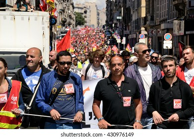 Marseille, France - June 02, 2016 : Thousands of protesters march during a demonstration against the French government and planned labor law reforms