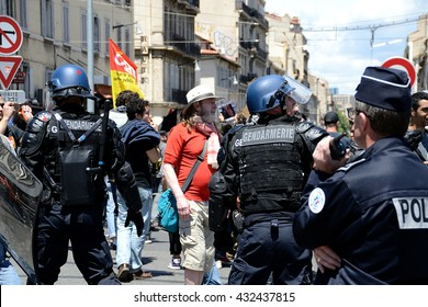 Marseille, France - June 05, 2016: French gendarmes block protesters during a demonstration