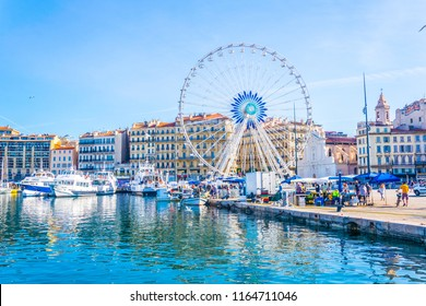MARSEILLE, FRANCE, JUNE 10, 2017: Ferris wheel at Port Vieux at Marseille, France