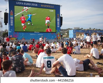 Marseille, France - June 11, 2016: England fans at the fan zone to watch Wales v Slovakia before their own match against Russia