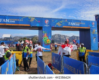 Marseille, France - June 11, 2016: England fans go through security at the fan zone to watch Wales v Slovakia before their own match against Russia