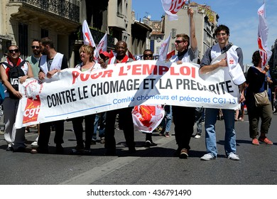 Marseille, France - June 14, 2016 : Thousands of protesters march during a demonstration against the French government and planned labor law reforms