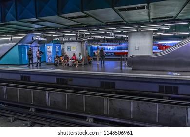 MARSEILLE, FRANCE, JUNE 19, 2016: Interior of Saint-Charles railway and metro Station (Gare De Marseille). Marseille Saint-Charles is main railway station and intercity bus station of Marseille.