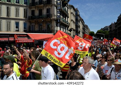 Marseille, France - June 19, 2016: Demonstration against the French government and planned labor law reforms