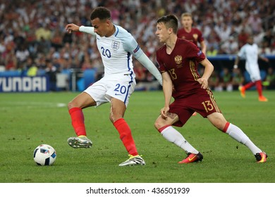 MARSEILLE- FRANCE, JUNE 2016 :Alli and Golovin  in action  during football match  of Euro 2016  in France between England vs Russia at the Stade Velodrome   on June 11, 2016 in Marseille.
