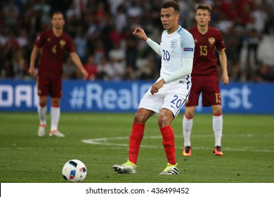 MARSEILLE- FRANCE, JUNE 2016 : Dele Alli in action  during football match  of Euro 2016  in France between England vs Russia at the Stade Velodrome   on June 11, 2016 in Marseille.