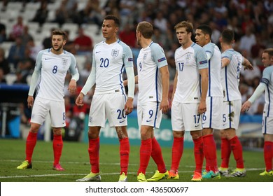 MARSEILLE- FRANCE, JUNE 2016 :Dele Alli in action  during football match  of Euro 2016  in France between England vs Russia at the Stade Velodrome   on June 11, 2016 in Marseille.