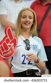 MARSEILLE- FRANCE, JUNE 2016 : England and Russian supporters  in football match  of Euro 2016  in France between England vs Russia at the Stade Velodrome   on June 11, 2016 in Marseille.
