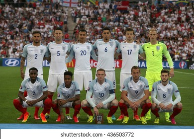 MARSEILLE- FRANCE, JUNE 2016 : England tema in football match  of Euro 2016  in France between England vs Russia at the Stade Velodrome   on June 11, 2016 in Marseille.