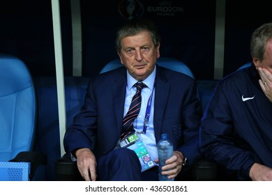 MARSEILLE- FRANCE, JUNE 2016 :Hodgson   during football match  of Euro 2016  in France between England vs Russia at the Stade Velodrome   on June 11, 2016 in Marseille.