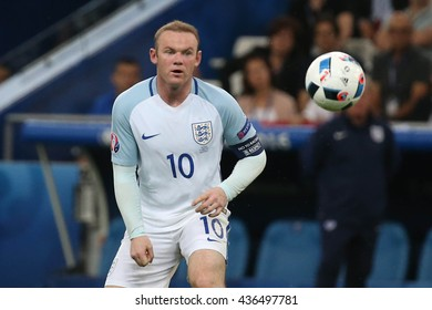MARSEILLE- FRANCE, JUNE 2016 :Rooney  in action  during football match  of Euro 2016  in France between England vs Russia at the Stade Velodrome   on June 11, 2016 in Marseille.