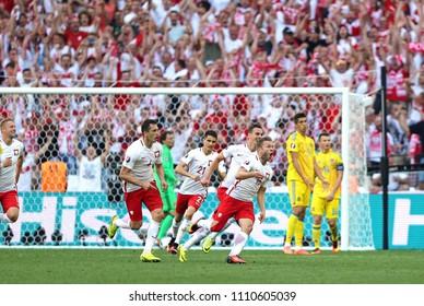 MARSEILLE, FRANCE - JUNE 21, 2016: Jakub Blaszczykowski of Poland (#16) reacts after scored a goal during UEFA EURO 2016 game against Ukraine at Stade Velodrome in Marseille, France. Poland won 1-0