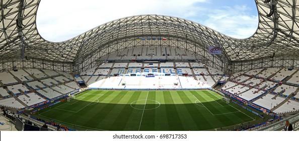 MARSEILLE, FRANCE - JUNE 21, 2016: Panoramic view of Stade Velodrome stadium before the UEFA EURO 2016 game Ukraine v Poland