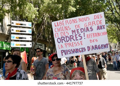 Marseille, France - June 23, 2016 : Demonstration against the French government and planned labor law reforms