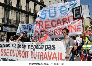 Marseille, France - June 28, 2016 : Thousands of protesters march during a demonstration against the French government and planned labor law reforms