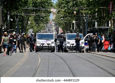 Marseille, France - June 28, 2016: French policemen pictured in the street during a demonstration against the French government and planned labor law reforms