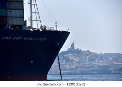 Marseille, France - June 28, 2018 : CMA CGM company container ship Marco Polo arrives at the port of Marseille, southern France on June 28, 2018. Jacques Saade,founder and CEO of French container tran