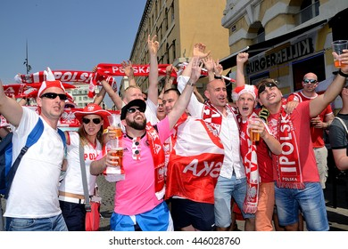 Marseille, France - June 30, 2016 : Polish supporters pictured in Marseille during the 2016 UEFA European Championship in France