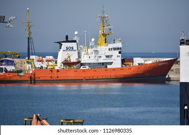 "Marseille, France - June 30, 2018 :  The humanitarian ship ""Aquarius,"" chartered by European NGO SOS-Mediterranean and Doctors Without Borders, finishes its visit at the port of Marseille"
