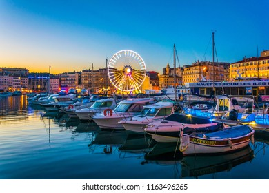MARSEILLE, FRANCE, JUNE 8, 2017: Sunset view of Port Vieux at Marseille, France
