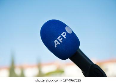Marseille, France - Mar 13 2021: Agence France Presse AFP's microphone for media and tv illustration