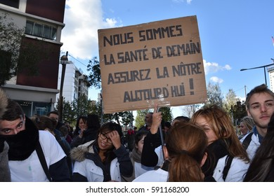 Marseille, France - March 01, 2017 : Nurses and nursing assistants in the streets of Marseille to protest against their working conditions and to denounce the budget cuts on the health budget
