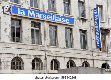 Marseille, France - March 02, 2017 : Banners with name La Marseillaise hang on the office building of French leftist regional daily La Marseillaise