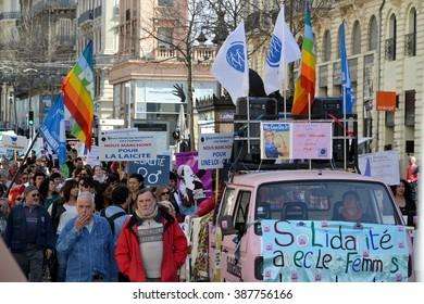 Marseille, France - March 08, 2016 : International women's day demonstration