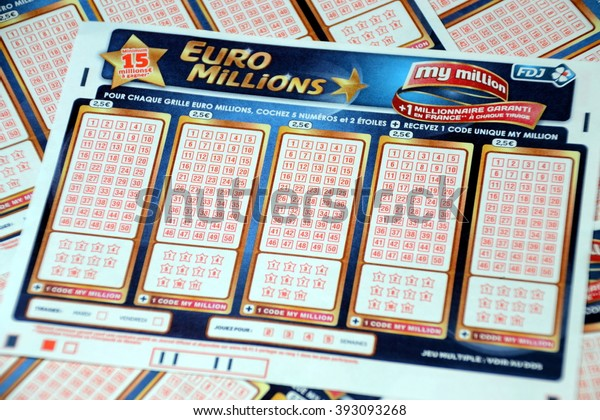 Marseille, France - March 19, 2016 : Tickets for Euromillions lottery