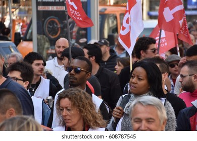 Marseille, France - March 21, 2017 : Thousands march as part of a national mobilization called by the CGT union to protect jobs and benefits of French industrial and public service workers