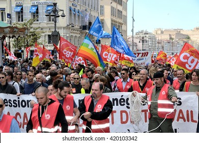 Marseille, France - May 12, 2016 : Thousands of protesters march during a demonstration against the French government and planned labor law reforms
