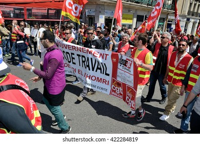 Marseille, France - May 17, 2016 : Thousands of protesters march during a demonstration against the French government and planned labor law reforms